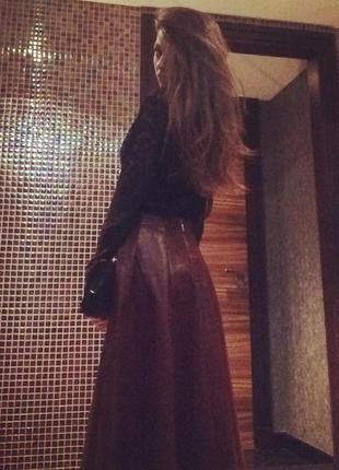 Макси юбка из экокожи befree