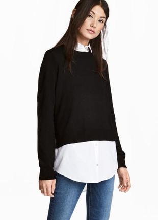 Черный свитер с рубашкой обманкой от h&m