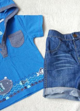 Комплект 2в1 набор футболка и шорты бриджи на 9-12 мес