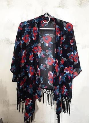 Накидка-кимоно с бахромой