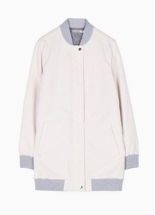 Удлиненная куртка бомбер stradivarius р: l спортивная курточка.