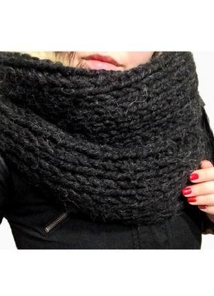 Чёрный хомут шарф, очень тёплый, зимний
