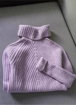 Whitty knitters  лавандовый объемный свитер с горлом вязаный кашемир шерсть италия