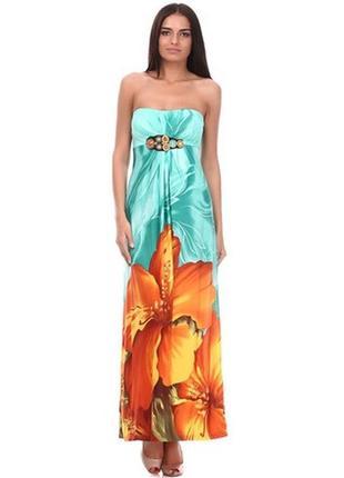 Яркое летнее платье бюстье сарафан в пол цветочный принт