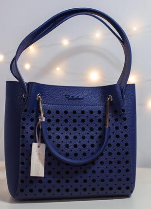 Синяя двойная сумка подвійна сумочка particolari италия плечевой ремешок