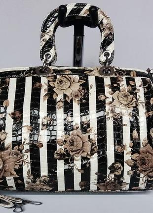 Суперцена. шикарная женская сумка. полоска и цветы. новая