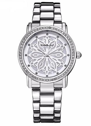 Роскошные женские часы серебристого цвета код 465