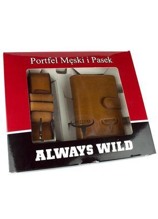 Подарочный набор always wild psb-d1072-01-gg  (портмоне + ремень)