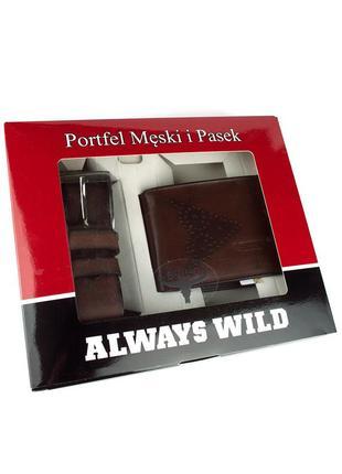Подарочный набор always wild psb-n7-02-gg (портмоне + ремень)