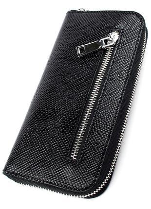 Женский кожаный кошелек на молнии lika-2 (черный питон)