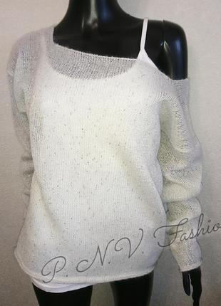 Легкий свитер накидка с люрексом