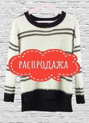 Распродажа свитеров! свитер травка в полоску, белый джемпер