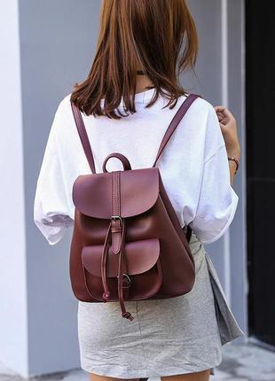 5c4d93dadece ... Рюкзак сумка женский для девушек из экокожи с накладным карманом  (винный)2 фото ...
