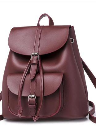 eac54d99deb8 ... Рюкзак сумка женский для девушек из экокожи с накладным карманом  (винный)3 фото ...