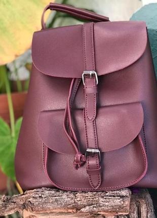 af389eb3363f ... Рюкзак сумка женский для девушек из экокожи с накладным карманом  (винный)4 фото