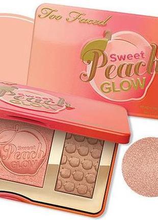 Палетка too faced sweet peach glow (румяна, хайлайтер, бронзер)