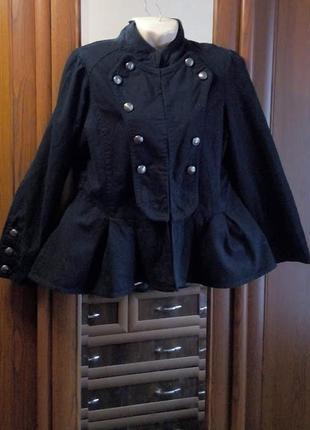 Джинсовый гусарский пиджак жакет с баской