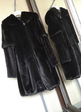 Норковая шуба с капюшеном black nafa blackglama unifur италия