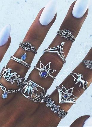 Набор колец серебристого цвета на фаланги пальцев 13 штук