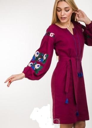 Красивое вышитое платье-вышиванка вишита сукня плаття рукава-фонарики цвета р.s-l