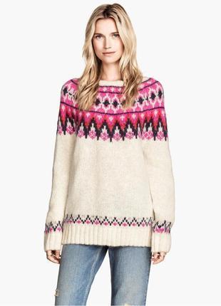 Зимний вязаный свитер hm h&m реглан свитшот с орнаментом 30% шерсть алпака 13% шерсть