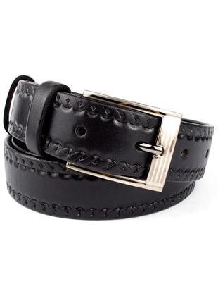 Ремень мужской кожаный kb-35-09 black (3,5 см)