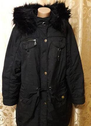 Стильная теплая женская куртка, парка батального размера evans