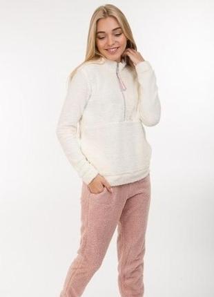 Плюшевая теплая пижама домашний комплект кофта и штаны цвета р.s-l