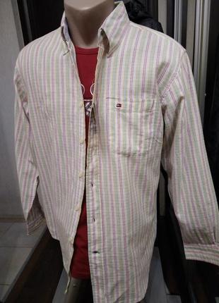 Хлопковая сорочка, рубашка прямого кроя в полосатый принт