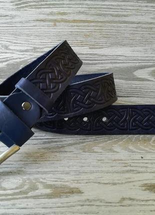 Кожаный ремень синий кельтский узел 3,7 см