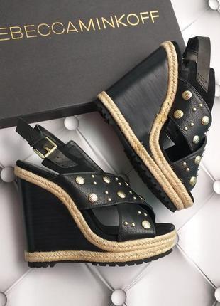 Rebecca minkoff оригинал кожаные босоножки на высокой танкетке бренд