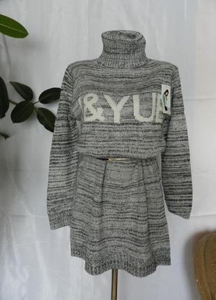💣вязаный свитер туника платье  с горловиной  размер оверсайз  44-58