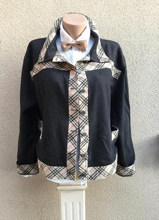 Куртка,серый джинс,окантовка клетка burberry,ветровка,жакет,пиджак,большой размер
