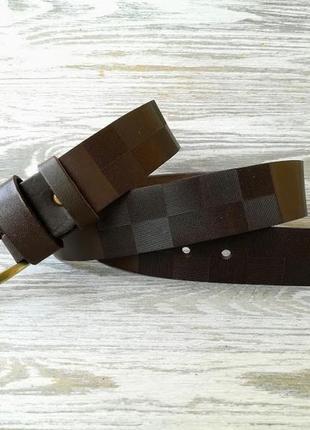 Кожаный ремень коричневая шахматка