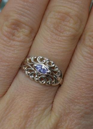 Серебряное #кольцо, #лаванда, #сирень, #камни, #срібна каблучка, #925, 17р-р