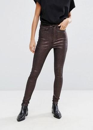 Классные стрейчевые брюки джинсы с напылением