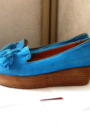 Натуральная кожа + замша! яркие и удобные туфли - лоферы ravel, р.35 код t3535