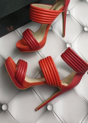 Mia limited edition красные кожаные босоножки на шпильке и платформе бренд из сша