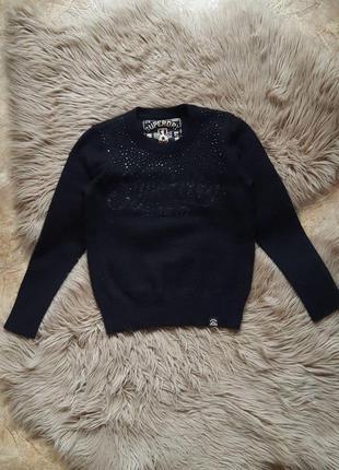 Свитер superdry,теплый женский свитер superdry,шерстяной свитер со стразами superdry