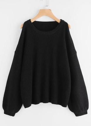 Актуальный укороченный свитер с объемными рукавами №116