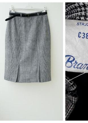Серая теплая юбка в клетку стильная юбка за колено 10 12