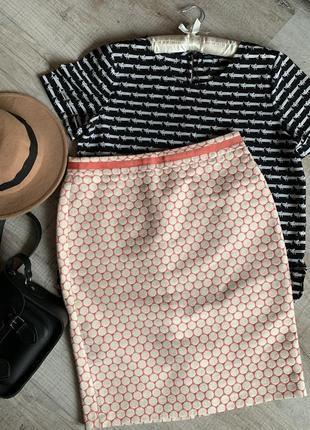 Прямая юбка в горошек boden кораловая юбка12р.  хлопковая нарядная юбка