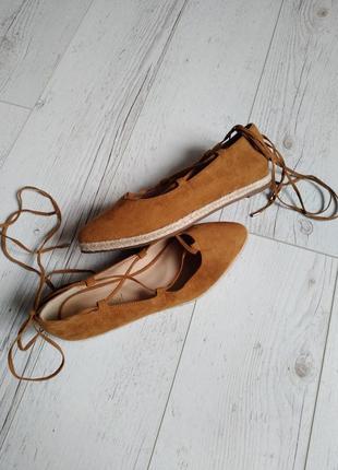 Туфли балетки со шнуровкой под замш р. 36,5-37
