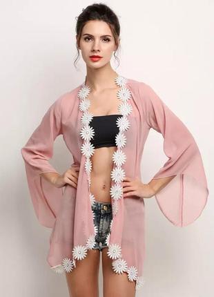 Пляжная накидка кимоно кардиган на купальник