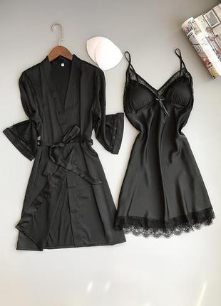 Пижама silktouch комплект халат с ночной рубашкой черный m