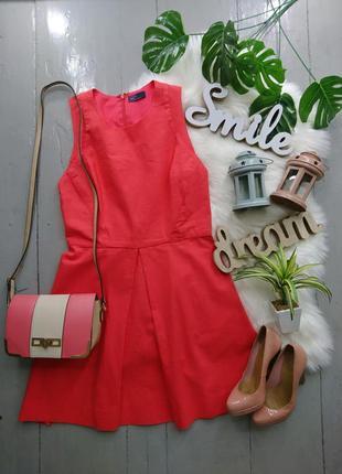 Коралловое льняное платье №558