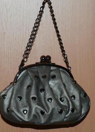 Изящная сумочка бренда e-vie/ с рамочным замком/серо-стального оттенка/
