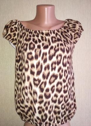 Классная  брендовая блуза джемпер с леопардовым принтом,р.38