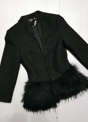 Пальто - пиджак с натуральным мехом ххс-хс