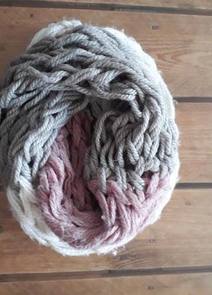 Вязаные объемный шарф снуд хомут крупная вязка